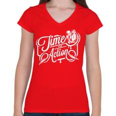 PRINTFASHION A cselekvés ideje! - Női V-nyakú póló - Piros