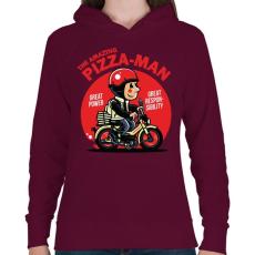 PRINTFASHION A csodálatos pizzafutár - Női kapucnis pulóver - Bordó