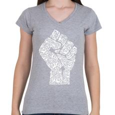 PRINTFASHION A forradalom keze - Női V-nyakú póló - Sport szürke