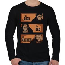 PRINTFASHION A jó, a rossz és Maurice - Férfi hosszú ujjú póló - Fekete