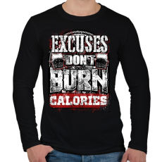 PRINTFASHION A kifogások nem égetnek kalóriát - Férfi hosszú ujjú póló - Fekete