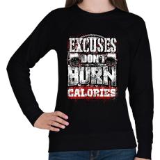 PRINTFASHION A kifogások nem égetnek kalóriát - Női pulóver - Fekete