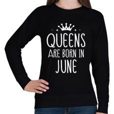 PRINTFASHION A királynők júniusban születnek - Női pulóver - Fekete
