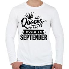 PRINTFASHION A királynők szeptemberben születnek - Férfi hosszú ujjú póló - Fehér