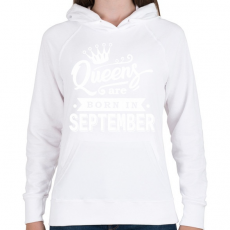 PRINTFASHION A királynők szeptemberben születnek - Női kapucnis pulóver - Fehér