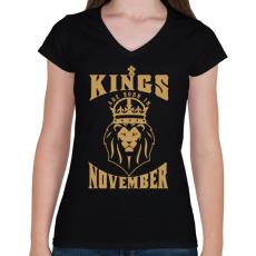 PRINTFASHION A királyok novemberben születtek - Női V-nyakú póló - Fekete