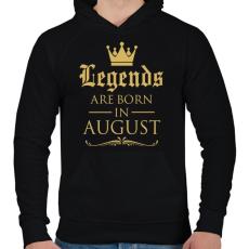 PRINTFASHION A legendák augusztusban születnek - Férfi kapucnis pulóver - Fekete