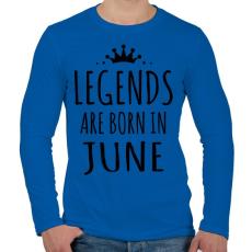 PRINTFASHION A legendák júniusban születnek - Férfi hosszú ujjú póló - Királykék