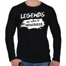 PRINTFASHION A legendák novemberben születtek - Férfi hosszú ujjú póló - Fekete