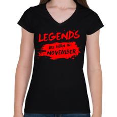 PRINTFASHION A legendák novemberben születtek - Női V-nyakú póló - Fekete
