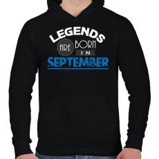 PRINTFASHION A legendák szeptemberben születnek - Férfi kapucnis pulóver - Fekete