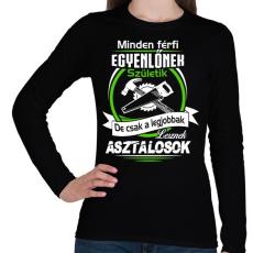 PRINTFASHION A legjobb asztalos - Női hosszú ujjú póló - Fekete