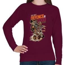 PRINTFASHION A legjobb védekezés a támadás - Női pulóver - Bordó