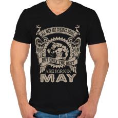 PRINTFASHION A legjobbak májusban születnek - Férfi V-nyakú póló - Fekete