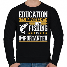 PRINTFASHION A tanulás fontos, de a pecázás fontosabb - Férfi pulóver - Fekete