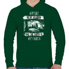 PRINTFASHION A természet az én vallásom - Férfi kapucnis pulóver - Sötétzöld