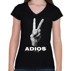 PRINTFASHION ADIOS - Női V-nyakú póló - Fekete
