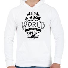 PRINTFASHION Adventure - Férfi kapucnis pulóver - Fehér