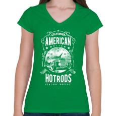 PRINTFASHION Amerikai Hotrod  - Női V-nyakú póló - Zöld