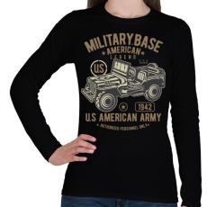 PRINTFASHION Amerikai katonai jeep - Női hosszú ujjú póló - Fekete