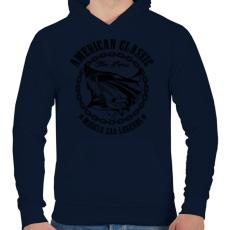 PRINTFASHION Amerikai klasszikus - Férfi kapucnis pulóver - Sötétkék