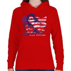 PRINTFASHION Amerikai lány - Női kapucnis pulóver - Piros
