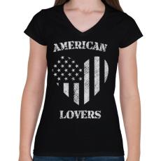 PRINTFASHION Amerikai szerető - Női V-nyakú póló - Fekete
