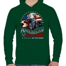 PRINTFASHION Amerikai szokás - Férfi kapucnis pulóver - Sötétzöld