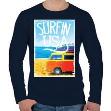 PRINTFASHION Amerikai szörfös - Férfi hosszú ujjú póló - Sötétkék