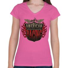 PRINTFASHION Amerikai verseny - Női V-nyakú póló - Rózsaszín