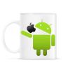 PRINTFASHION Android megeszi az almát - Bögre - Fehér