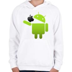 PRINTFASHION Android megeszi az almát - Gyerek kapucnis pulóver - Fehér