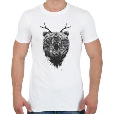 PRINTFASHION Angry bear with antlers - Férfi póló - Fehér