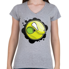 PRINTFASHION Angryball - Női V-nyakú póló - Sport szürke