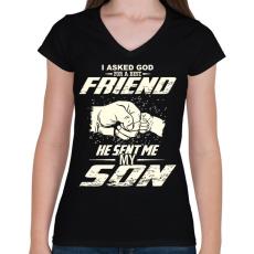 PRINTFASHION APA és FIA a legjobb barátok - Női V-nyakú póló - Fekete
