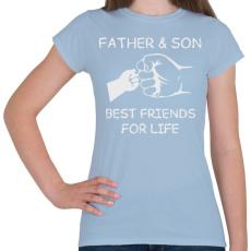 PRINTFASHION Apa és fia - Női póló - Világoskék