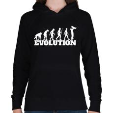 PRINTFASHION APA evolúció - Női kapucnis pulóver - Fekete