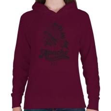 PRINTFASHION Apacs - Női kapucnis pulóver - Bordó