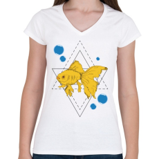 PRINTFASHION Aranyhal - Női V-nyakú póló - Fehér