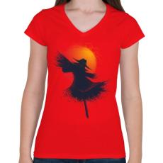 PRINTFASHION Aratás - Női V-nyakú póló - Piros