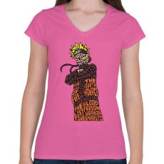 PRINTFASHION Árnyék nindzsa - Női V-nyakú póló - Rózsaszín