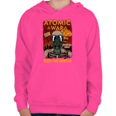 PRINTFASHION Atomháború - Gyerek kapucnis pulóver - Fukszia