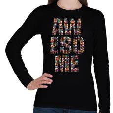 PRINTFASHION AWESOME - Női hosszú ujjú póló - Fekete