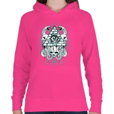 PRINTFASHION Az anarchia szeme - Női kapucnis pulóver - Fukszia
