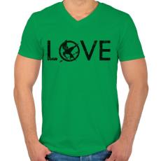 PRINTFASHION Az éhezők viadala - Férfi V-nyakú póló - Zöld