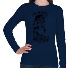 PRINTFASHION Az élet egy utazás - Női hosszú ujjú póló - Sötétkék
