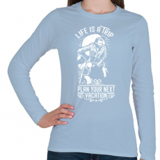 PRINTFASHION Az élet egy utazás  - Női hosszú ujjú póló - Világoskék