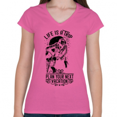 PRINTFASHION Az élet egy utazás - Női V-nyakú póló - Rózsaszín