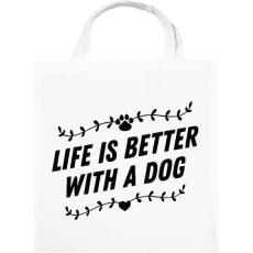 PRINTFASHION Az élet kutyával jobb - Vászontáska - Fehér