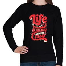 PRINTFASHION Az élet - Női pulóver - Fekete
